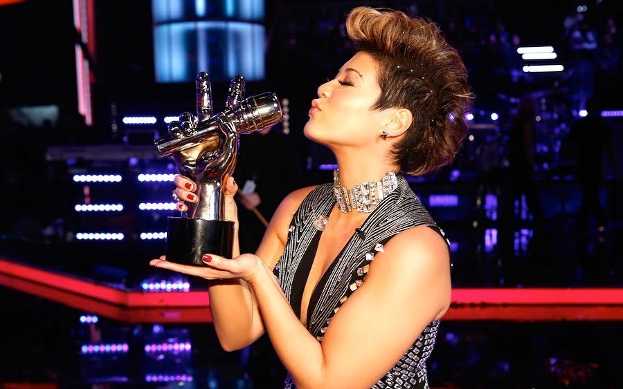 Tessanne Chin with The Voice Trophy