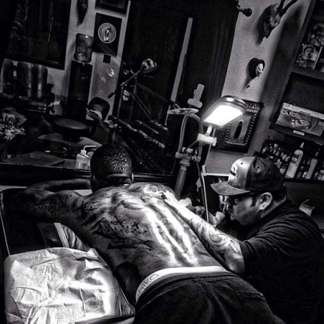 The Game getting tattoo