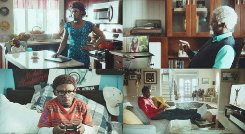 Usain Bolt family virgin media ad