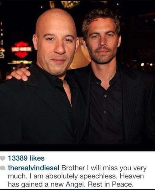 Vin Diesel and Paul Walker death