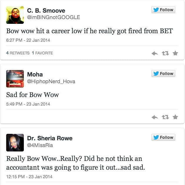 Bow Wow fired BET