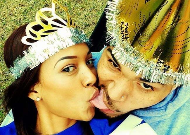 Chris Brown and Karrueche kiss