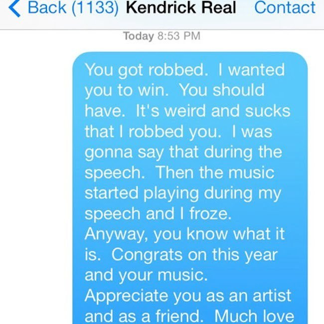 Macklemore and Kendrick text