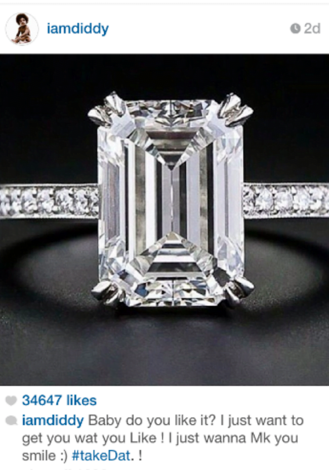 Diddy Cassie engagement ring