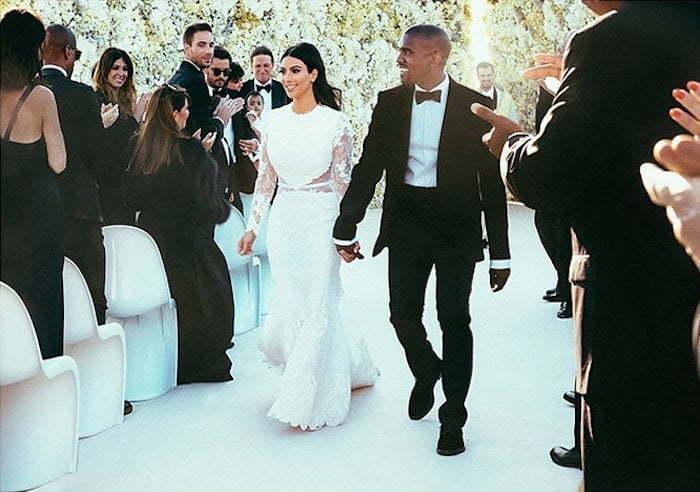 Kim and Kanye wedding photo