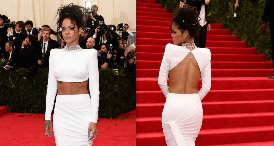 Rihanna Show Off Her Washboard Abs At Met Gala 2014