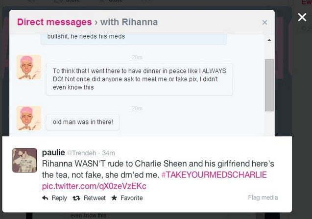 Rihanna charlie sheen twitter