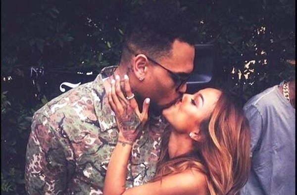 Chris Brown kissing Karrueche