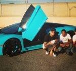 Chris Brown blue Lamborghini