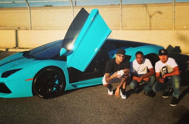 Chris Brown blue Lamborghini