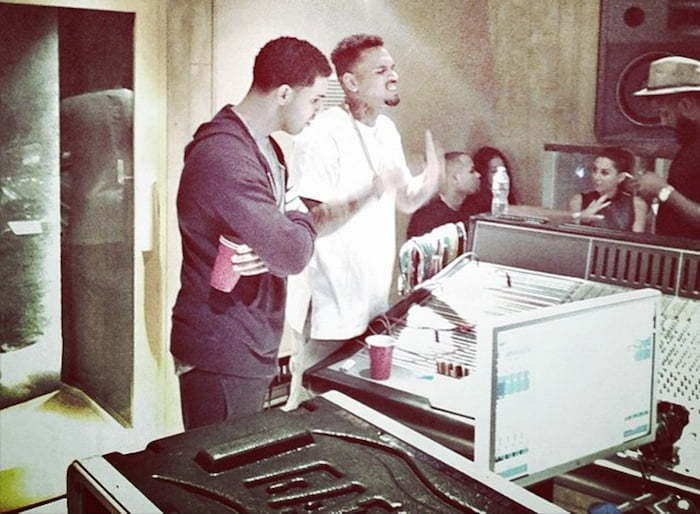 Chris Brown drake in studio