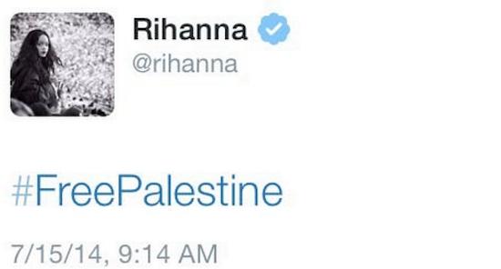 Rihanna free palestine tweet
