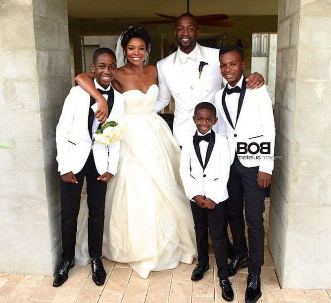 Gabrielle Union and Dwayne Wade wedding photo