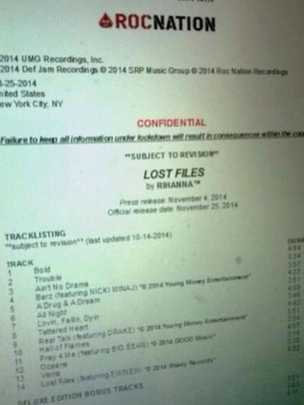 Rihanna album leak