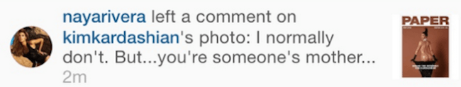 Naya Rivera kim k comment