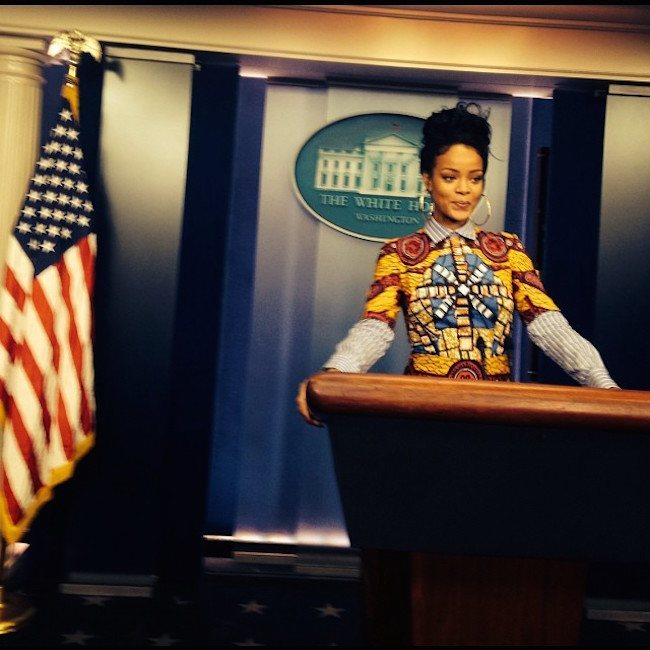 Rihanna at the white house