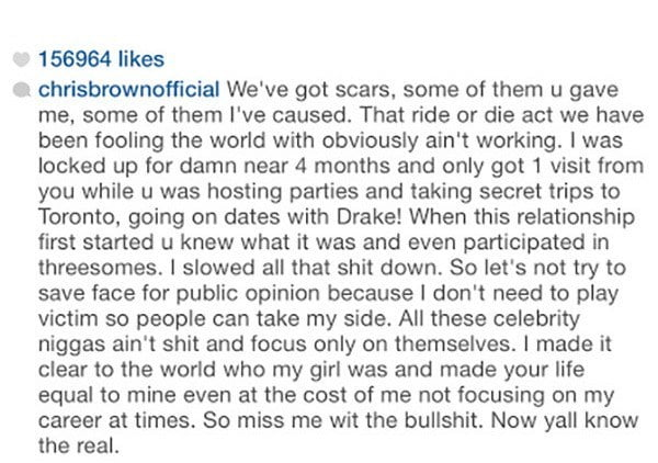 Chris Brown blast Karrueche Tran on Instagram