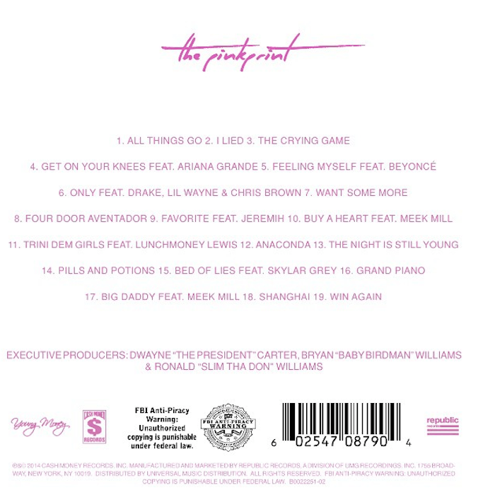 The PinkPrint tracklisting