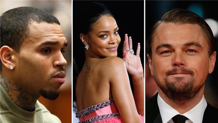 Chris Brown Rihanna and Leonardo DiCaprio