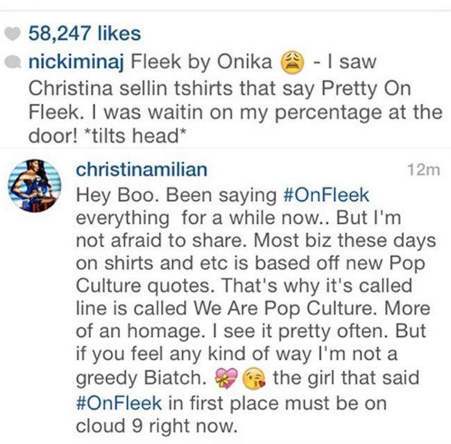 Nicki Minaj Christina Milian Instagram