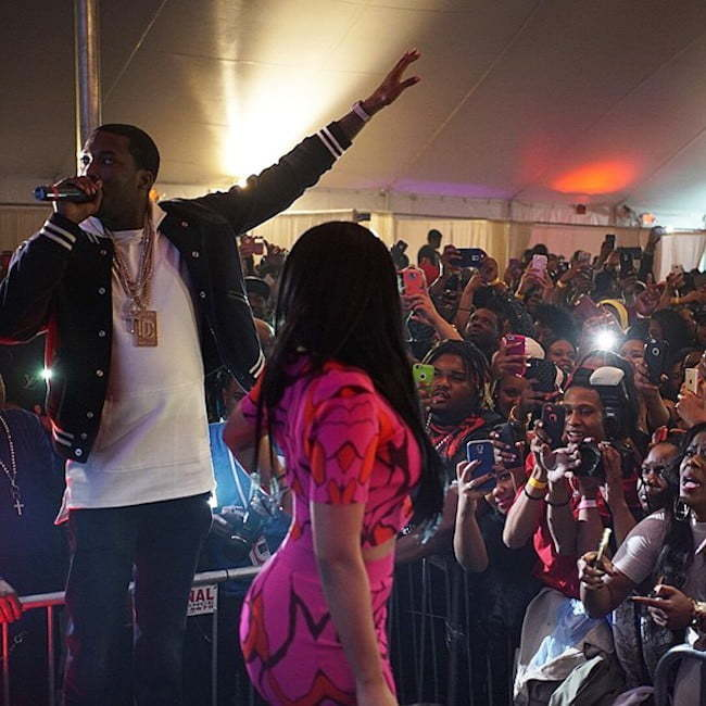 Nicki Minaj and Meek Mill performing live