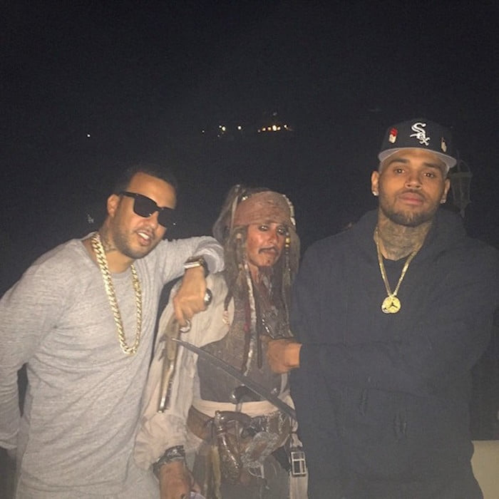 French Montana and Chris Brown at Travis Scott birthday party