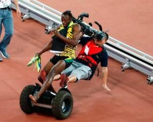 Usain Bolt Hit By Segway After Winning 200m At World Championship