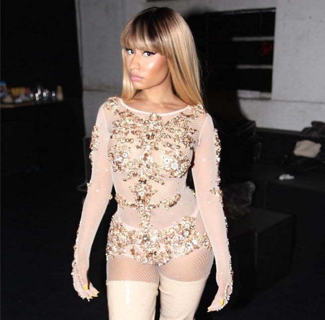 Terrific Nicki Minaj Rocked Sheer Bodysuit In Milan For Fashion Week Short Hairstyles For Black Women Fulllsitofus