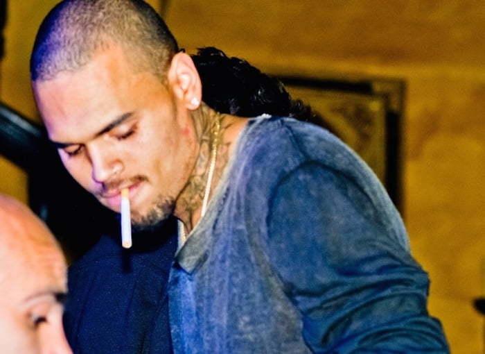 Chris brown smoking