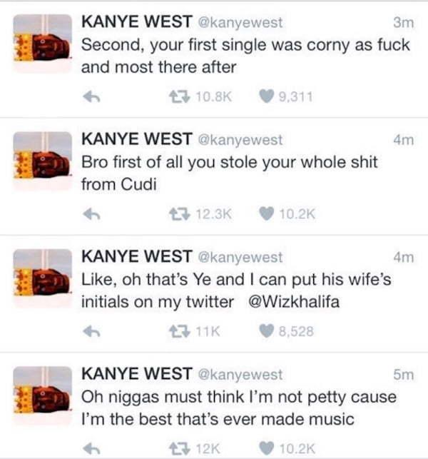 Kanye West Wiz Khalifa tweets