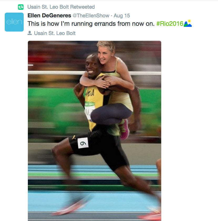 Usain react to Ellen DeGeneres