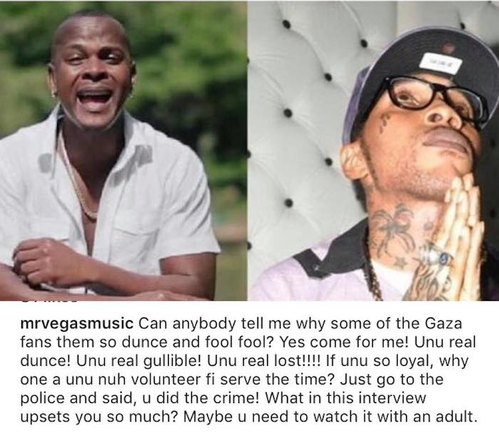 Mr. Vegas Says Vybz Kartel Is In Hell And His Fans Are Fools