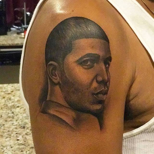 Dennis graham gets giant drake tattoo on his arm urban for Drake new tattoo