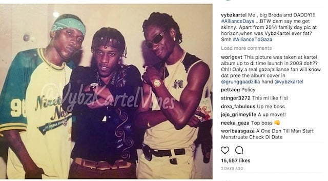 Vybz Kartel Also Posted A Throwback Photo Of Himself Wayne Marshall And Bounty Killer While Clapping Back At Some Recent Reports About His Weight