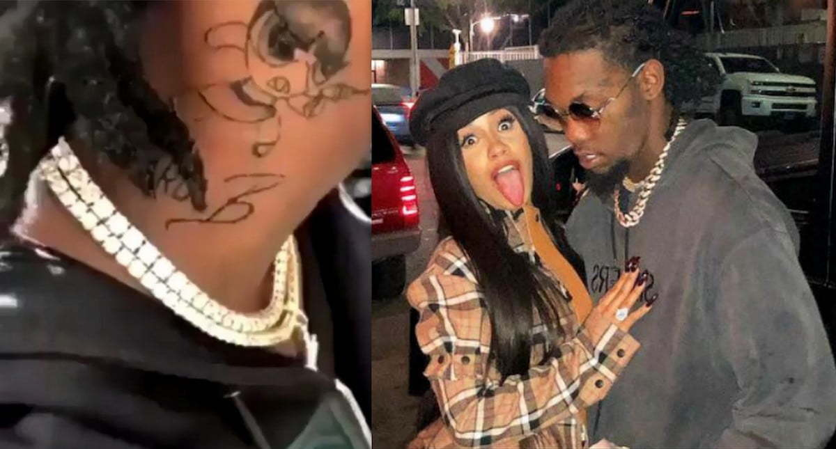 Offset Puts Tattoo Of Cardi B On His Neck Video: Cardi B Didn't Want Offset To Get Neck Tattoo Of Her Name