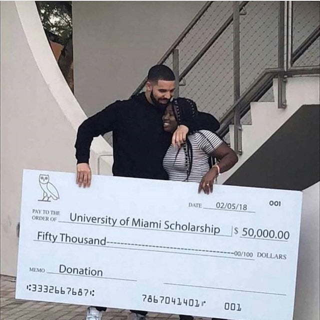 Drake Gifts University of Miami Student $50000 for College Tuition