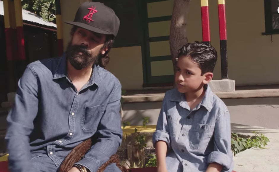 damian marley takes his son on a musical journey in living it up video urban islandz. Black Bedroom Furniture Sets. Home Design Ideas