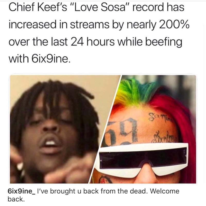 Chief Keef Love Sosa: Tekashi 6ix9ine Trolls Chief Keef But Denies Involvement