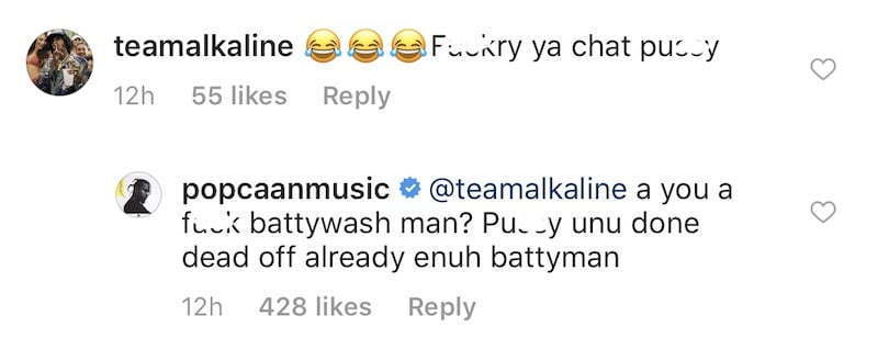 Popcaan n'a pas mâché ses mots en dissolvant Alkaline et ses partisans sur Instagram. 2