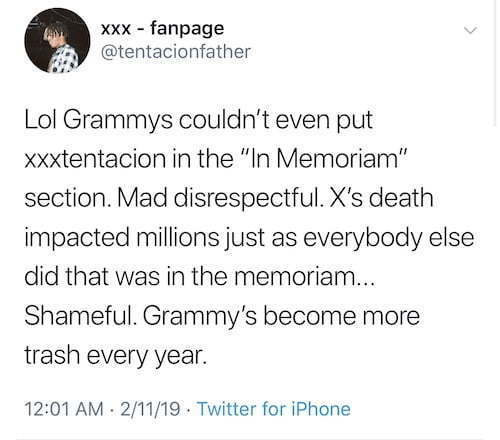 The Grammys Angered XXXTentacion For Something They Didn't Do