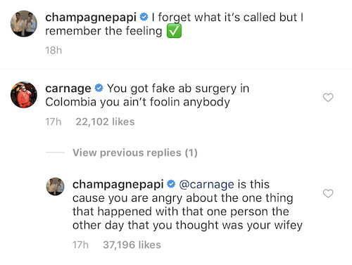 Carnage Says Drake Abs Faker Than Nicki Minaj Booty 6 God Claps Back - Urban Islandz