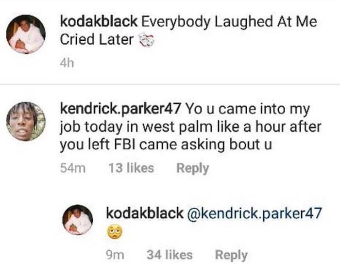 Kodak Black Fears He Could Go Down Like Tekashi 6ix9ine, Says FBI Targeting Him - Urban Islandz
