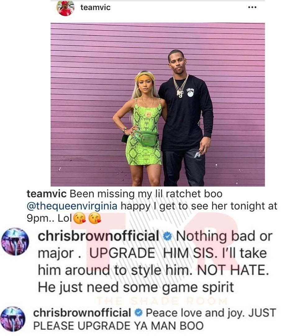 Chris Brown Shades Karrueche Tran's Boyfriend Victor Cruz In His Instagram Comments
