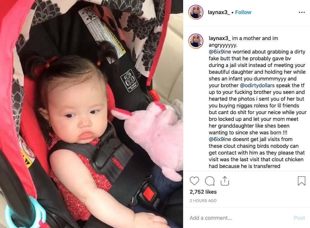 Tekashi 6ix9ine Second Baby Mama Layna Share Photo Of His