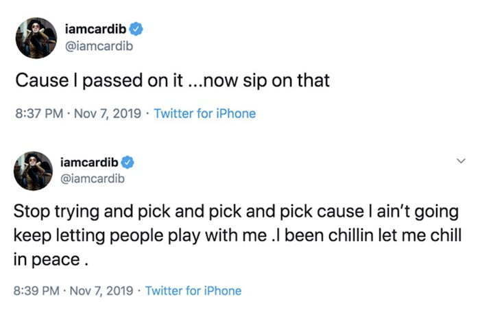 Image result for cardi b because i passed on it