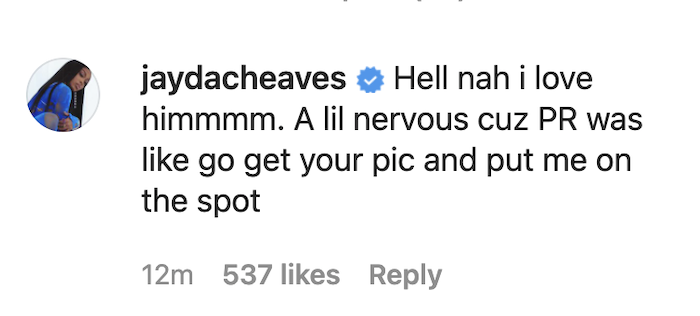 Jayda IG comment
